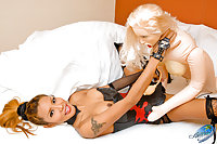 Hot tgirl practices her skills with a rubber doll