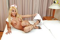 Asian ladyboy nurse treating herself