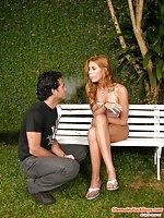 Prankish tgirl fucks on a bench
