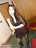 Ladyboy in pantyhose & heels gets fucked