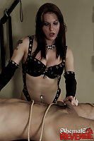 Shemale fun with a slave