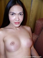 Asian Shemale Undressing & Posing Topless On Sofa