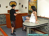 Sultry Tranny In White Nylons Prefers Guy Ass