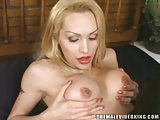 Luxurious blonde tranny with big balloons fucked hot with cum on