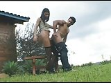 Sexy latina bonks guy outdoors