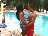 Brunette tranny mistress fucking dude poolside