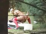 Tall Blonde Tranny Nailing Guy In The Park