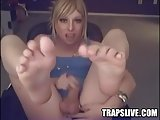 Sexy TGirl Cums On Feet And Licks It Off