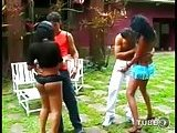 Outdoor orgy with latina Tgirls
