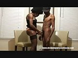 Ebony tranny does him hot handjob