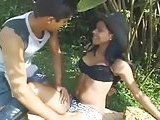 Petite latina tranny gets outdoor sex
