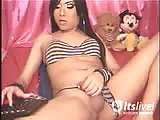 Brunette tranny dildo fucking herself