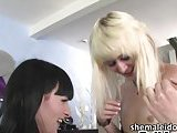 Tgirl hottie Bailey Jay nails her gf Bee Armitages ass and cumshot