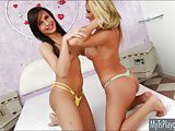 Blonde and brunette Tgirls anal pounding