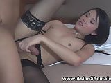 Pretty Jenny AsianShemale gets Sucked, Fucked and Cums