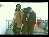 Black chap eats a Tgirl and a chick in turn