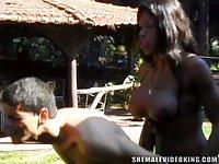 Brazilian TS Chick Fucking A Buck