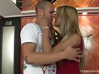 Hot blonde TS hooker gets fucked and cums
