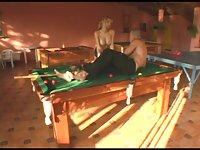 Alessandra fucks guy on a pool table