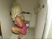 Horny TS hottie fucked in the toilet