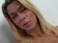 Hot blonde shemale Bruna Rubio gives bj