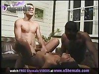 Latin shemale in threesome