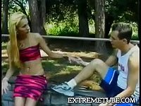 Burning couple oral caress outdoor