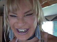 Interracial fuck for a blonde tranny whore