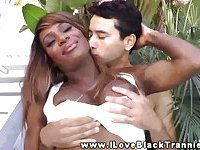 Big ass ebony shemale enjoys a rimjob at the jungle