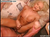 Big Tit Blonde Shemale In Red