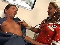 Latina tranny in latex uniform is a super nurse