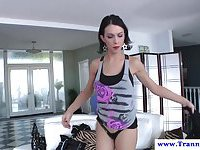 Rough transsexual police officer punishes a naughty guy