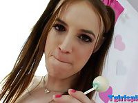 Pigtailed TS Kitty Kaiti anal penetrated