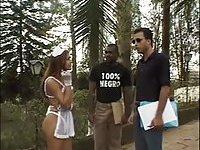 Interracial threesome with a skinny tranny