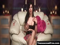 Vaniity plays with her big tits and ass