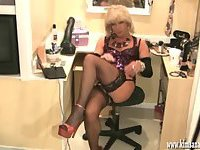 Sexy blonde crossdresser fingers ass and wanks her hard cock