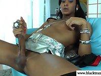 Ebony black amateur wanks her thick cock