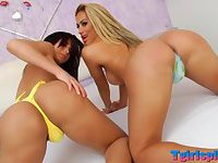 Two horny Voluptuous tranny suck each other hard shestick