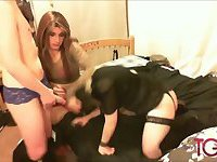 Horny crossdresser and big cock sissy gangbang blonde slut in threesome