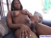 Ebony shemale produces a big load of sperm