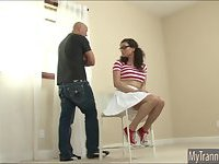 Babysitter tranny Riley Quinn ass fucked