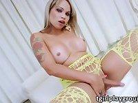 Big tits tranny Monika Ferraz plays her girl cock and cum jizzed