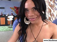 Black shemale tranny passionate jerking herself off