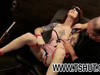 Roped and blindfolded shemale
