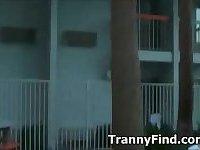 Hot tranny gets rimmed