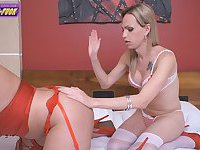 Lingeried Alessandra Leite and Agatha Lyra twosome