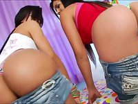 Pretty tbabes Beatrice Velmont and Bruna Butterfly take turns ass banged