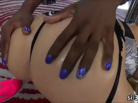 Domme black tgirl Chanel Couture screws juicy pink pussy