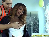 Black transexual sucked off by white lips