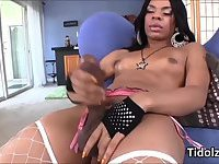 Lusty black shemale Sasha Strokes dildo screws her ass while jerking off